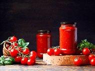 Домашен доматен сос с аспирин в бутилки или буркани без варене (зимнина)